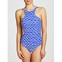 Buy Seafolly Tidal Wave High Neck Swimsuit, Blue Online at johnlewis.com
