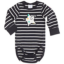 Buy Polarn O. Pyret Baby Stripe and Star Bodysuit, Black/White Online at johnlewis.com