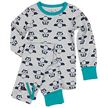 Buy Polarn O. Pyret Children's Bat Print Pyjamas, Grey Online at johnlewis.com
