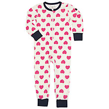 Buy Polarn O. Pyret Baby Heart Sleepsuit, Pink Online at johnlewis.com