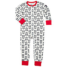 Buy Polarn O. Pyret Baby Panda Print Sleepsuit, White Online at johnlewis.com
