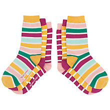 Buy Polarn O. Pyret Children's Stripe Socks, Pack of 3, Pink Online at johnlewis.com
