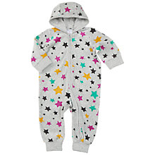 Buy Polarn O. Pyret Baby Velour Star Sleepsuit, Grey Online at johnlewis.com
