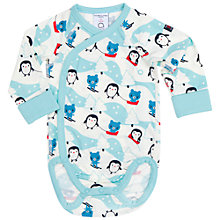 Buy Polarn O. Pyret Baby Penguin Bodysuit, Blue Online at johnlewis.com