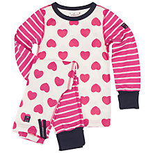 Buy Polarn O. Pyret Children's Heart Pyjamas, Pink/White Online at johnlewis.com