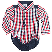 Buy Polarn O. Pyret Baby Checked Shirt Bodysuit, Red Online at johnlewis.com