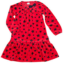 Buy Polarn O. Pyret Children's Star Print Velour Dress, Red Online at johnlewis.com