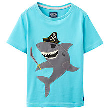 Buy Little Joule Boys' Junior Archie Shark T-Shirt, Turquoise Online at johnlewis.com