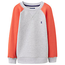 Buy Little Joule Boys' Leon Raglan Sweater, Grey/Orange Online at johnlewis.com