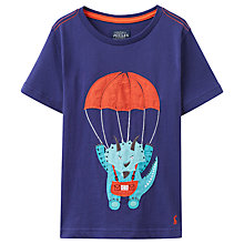 Buy Little Joule Boys' Archie Dino T-Shirt, Blue Online at johnlewis.com