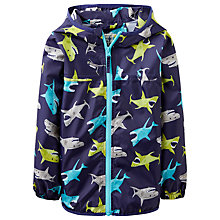 Buy Little Joule Boys' Rainy Day Shark Print Mac, Blue Online at johnlewis.com