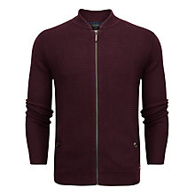 Buy Ted Baker Duk Knitted Bomber Jacket, Dark Red Online at johnlewis.com