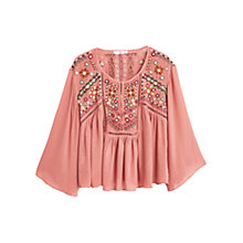 Buy Mango Embroidered Boho Blouse, Pink Online at johnlewis.com