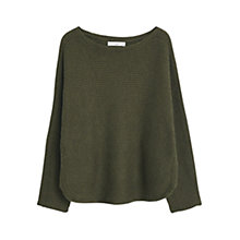 Buy Mango Cotton Blend Cable Knit Jumper, Khaki Online at johnlewis.com