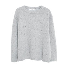 Buy Mango Flecked Cotton Blend Sweater, Light Heather Grey Online at johnlewis.com