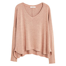 Buy Mango Flecked V-Neck T-Shirt, Nude Online at johnlewis.com
