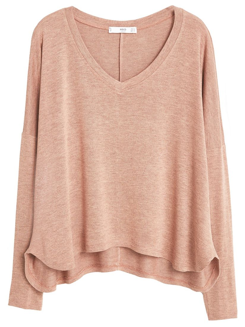Buy mango flecked v neck t shirt nude john lewis on the for Long sweaters and shirts