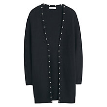 Buy Mango Textured Cotton Cardigan, Black Online at johnlewis.com