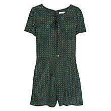 Buy Mango Printed Short Jumpsuit, Black/Green Online at johnlewis.com