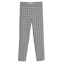 Buy Mango Jacquard Cotton Trousers, Black Online at johnlewis.com