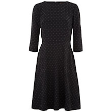 Buy Jaeger Printed Fit and Flare Dress, Black/Ivory Online at johnlewis.com