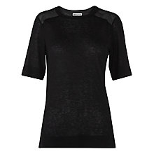 Buy Whistles Wool Mix Lux T-Shirt, Black Online at johnlewis.com