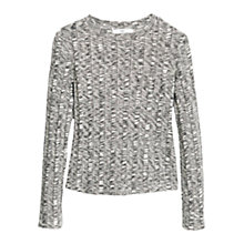 Buy Mango Ribbed Cotton Blend Sweater, Black Online at johnlewis.com