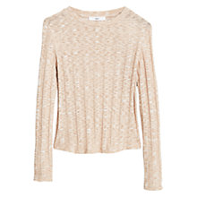Buy Mango Ribbed Cotton Blend Sweater, Nude Online at johnlewis.com