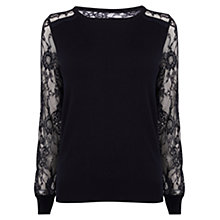Buy Coast Val Lace Jumper, Black Online at johnlewis.com
