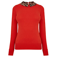 Buy Oasis Animal Collar Knit, Rich Red Online at johnlewis.com