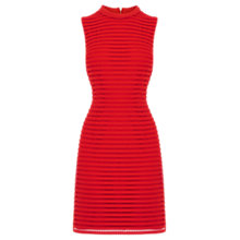 Buy Oasis Stripe Mesh High Neck Dress, Rich Red Online at johnlewis.com