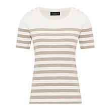 Buy Viyella Petite Button Trim Jersey Top, Natural Marl Online at johnlewis.com
