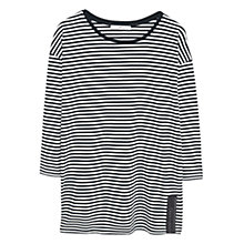 Buy Mango Striped Cotton T-Shirt, Black Online at johnlewis.com