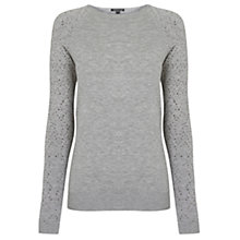 Buy Warehouse Diamante Jumper, Light Grey Online at johnlewis.com