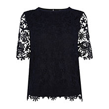 Buy Warehouse All Over Lace Top, Navy Online at johnlewis.com