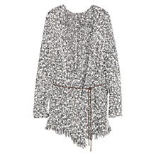 Buy Violeta by Mango Long Belted Cardigan, Black/White Online at johnlewis.com