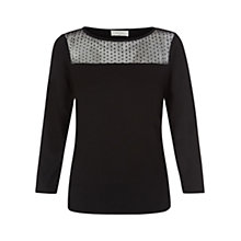 Buy Hobbs Claire Jersey Top, Black Online at johnlewis.com
