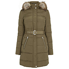 Buy Warehouse Luxe Faux Fur Puffa Parka Jacket, Khaki Online at johnlewis.com