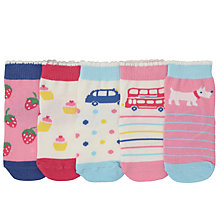 Buy John Lewis Baby London Scene Socks, Pack of 5, Pink/Multi Online at johnlewis.com