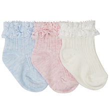 Buy John Lewis Baby Cable Knit Socks, Pack of 3, Pink/White/Blue Online at johnlewis.com