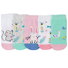 Buy John Lewis Baby Rabbit and Chick Socks, Pack of 5, Pink/Multi Online at johnlewis.com