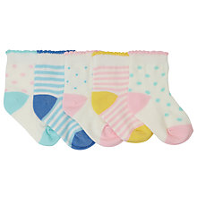 Buy John Lewis Baby Spot and Stripe Socks, Pack of 5, Cream/Multi Online at johnlewis.com