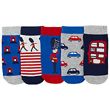 Buy John Lewis Baby London Socks, Pack of 5, Red/Multi Online at johnlewis.com