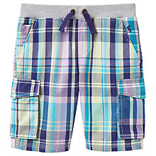 Buy Little Joule Boys' Bob Check Print Cargo Shorts, Blue Online at johnlewis.com