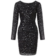 Buy Adrianna Papell Long Sleeve Sequin Cocktail Dress, Black Online at johnlewis.com