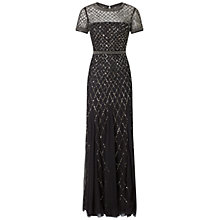 Buy Adrianna Papell Fully Beaded Gown, Black Online at johnlewis.com