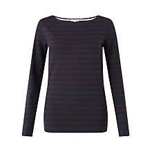 Buy Jigsaw Retro Jersey Stripe T-Shirt, Chocolate Online at johnlewis.com