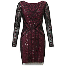 Buy Aidan Mattox Beaded Cocktail Dress, Black/Burgundy Online at johnlewis.com