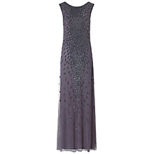 Buy Aidan Mattox Boat Neck Sleevless Beaded Gown, Gunmetal Online at johnlewis.com