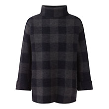 Buy Jigsaw Signature Gingham Polo Neck Jumper, Grey Online at johnlewis.com